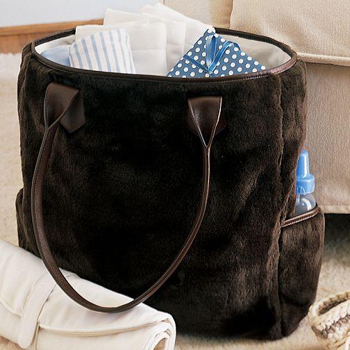 pottery barn kids brown faux fur diaper bag tote new ebay. Black Bedroom Furniture Sets. Home Design Ideas